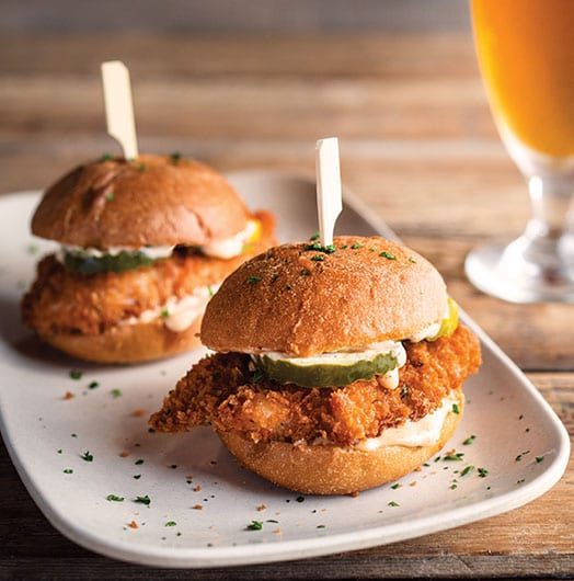 Beer-brined Crispy Chicken Sliders with a beer