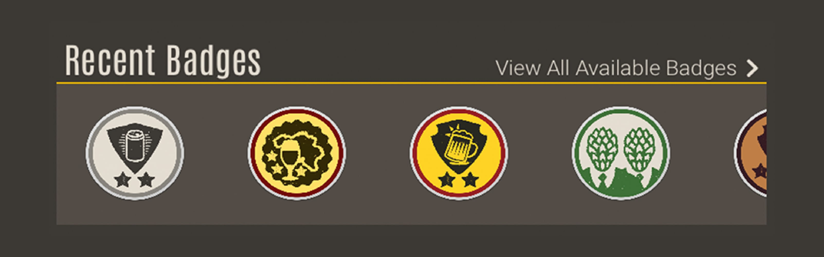 WOB Rewards recent badges screenshot