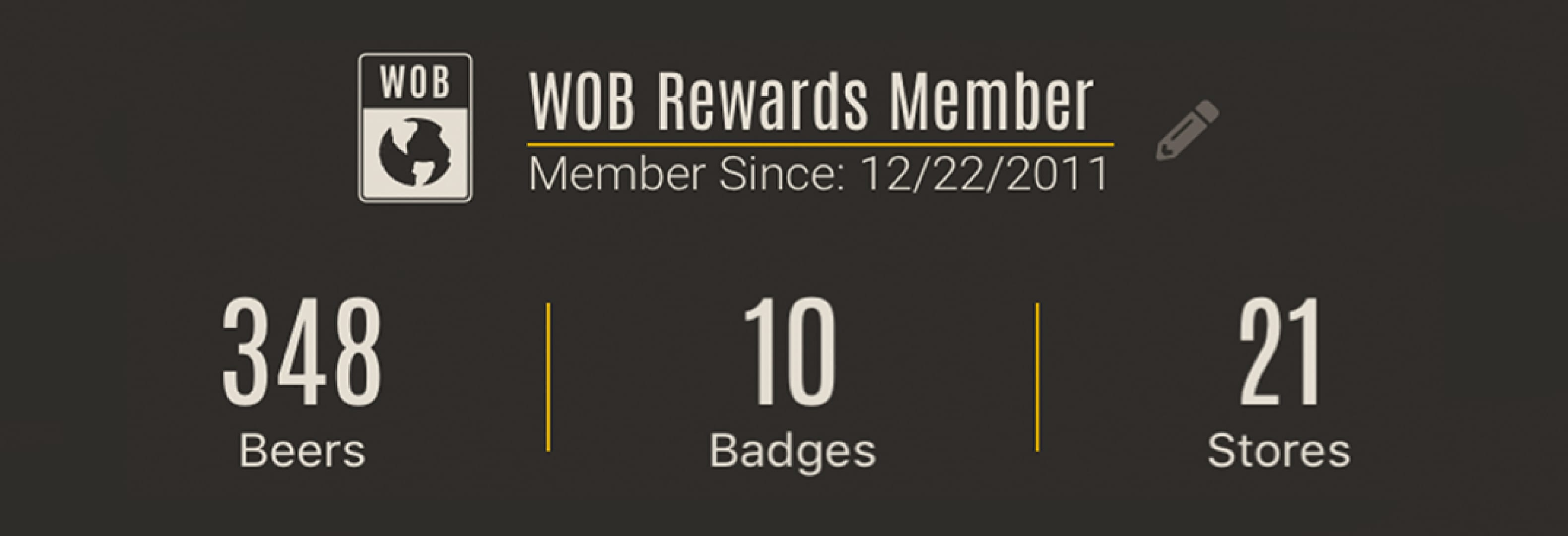 WOB Rewards Member information screenshot